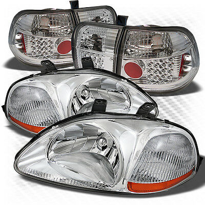 For 96-98 Civic 4dr Headlights + Philips-LED Perform Tail Lights