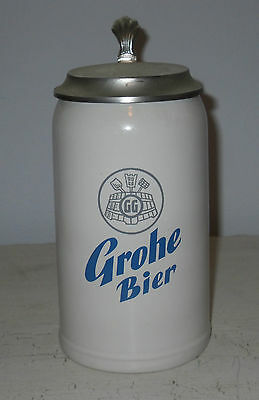 GROHE LIDDED BEER STEIN 7 1/2 INCHES TALL