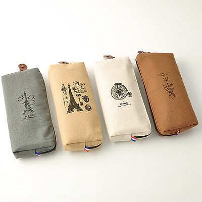 Retro Canvas Paris Pencil Pen Case Cosmetic Makeup Coin Pouch Bag Zipper Purse