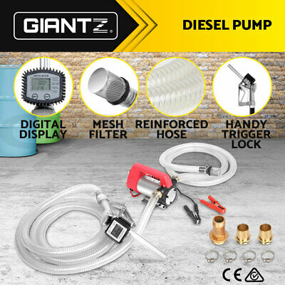 Giantz 12V DC Electric Bowser Transfer Pump Auto Diesel Oil Fuel Portable Gauge