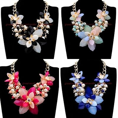 Fashion Gold Chain Jelly Resin Flower White Pearl Crystal Statement Bib Necklace
