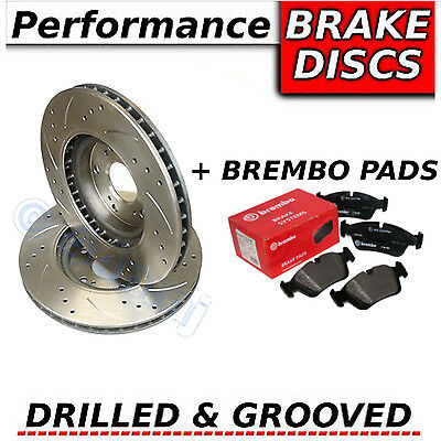 FORD MONDEO 1.8 TDCi 6/07-ON Drilled & Grooved FRONT Brake Discs + Brembo Pads