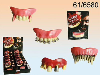 8pcs Gothic Artificial Teeth Zombie Tooth Fangs Halloween Party Fancy Dress