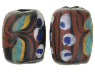 RARE OLD MATCHING PAIR OF BLACK Fancy VENETIAN WOUND GLASS BEADS African trade
