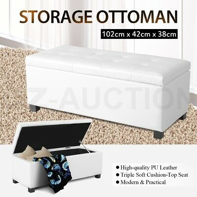 Blanket Box Ottoman PU Leather Toy Large Storage Foot Stool Chest White