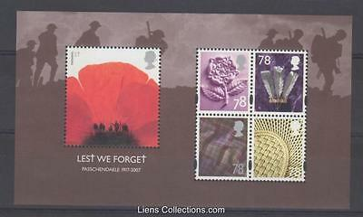 Gb 2007 Lest We Forget Miniature Sheet Sg: Ms2796 Um Mint Stamp Set Sheet Rare