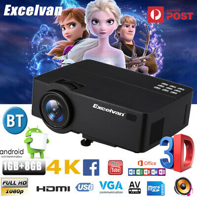 3D 4K FHD 1080P WIFI Android 7000Lumens LED Projector Home Theater Multimedia 8G