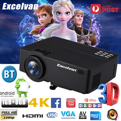 8000 Lumens Mini Portable 3D Full HD LED Projector 1080P Home Cinema Theater USB