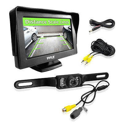 "New Pyle PLCM46 4.3"" Monitor & Backup Camera Night Vision Parking Assist System"