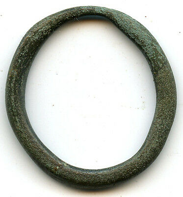 Large oval authentic bronze Ancient Celtic ring money, 800-500 BC, Danube Area
