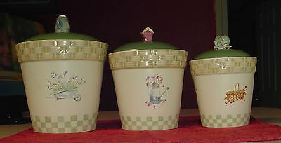 SONOMA CANISTER SET IN THE GARDEN 6 PC CANISTERS & LIDS NICE