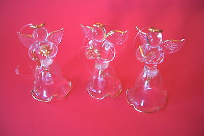 GLASS TREE ORNAMENTS SET OF 3 GLASS BELL ANGELS WITH GOLD HIGHLITES