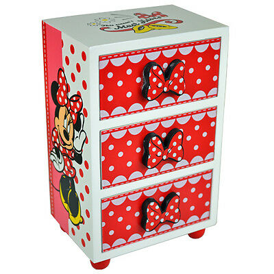 MINNIE MOUSE BEDROOM 3 DRAWER STORAGE KIDS WOODEN BOX NEW. Approx 15cmx10cmx7cm