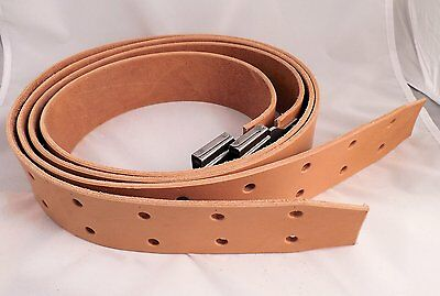 Amish-made Genuine Leather WESTERN STIRRUP STRAPS + BUCKLES_Light Oil_Tan 2 1/2""