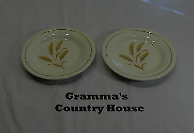 """2 Edwin Knowles China GOLDEN WHEAT 6¼"""" Bread Plates"""