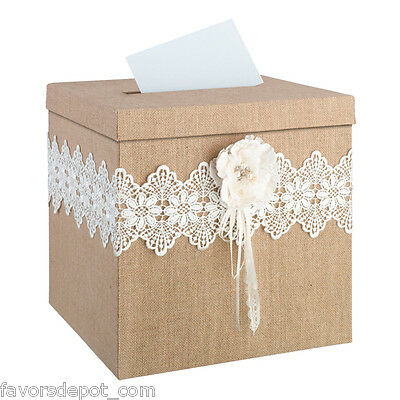 Rustic Wedding Card Box with Slot and Lock Wedding Card Holder – Wedding Box Card Holder