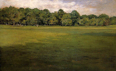 Art Oil painting William Merritt Chase - Croquet Lawn nice green view canvas