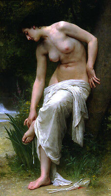 Large Oil painting William-Adolphe Bouguereau - Young girl After the Bath canvas
