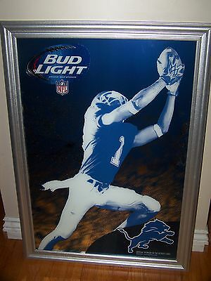 Bud Light beer Detroit Lions football mirror NEW RELEASE 2014