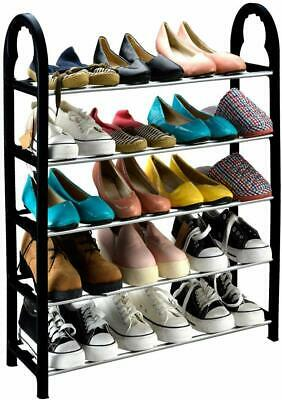 4 Tier White Wire Shoe Boot Rack Storage Cupboard Stand Trainers Organiser New