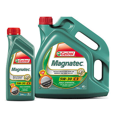 Castrol Magnatec 5w30 C3 Fully Synthetic Car Engine Oil 4L + 1L = 5 Litre