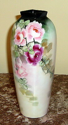 1910-1945 EPIAG Pirkerhammer Bohemia  PORCELAIN VASE with hand painted ROSES