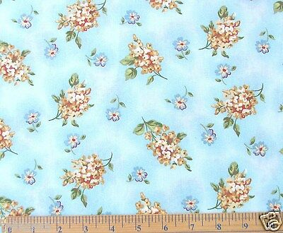 NEW 2 YARDS FLOWERS ON BLUE CALICO COTTON FABRIC GREAT 4 QUILTS 44WIDE