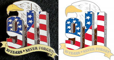 NEVER FORGET 9/11 10 Year PIN & MAGNET 10th Tribute Memorial Sept 11 9/11/01 911