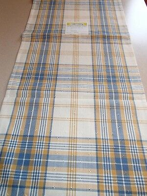 """Swedish Cotton Table Runner Kristina Blue Yellow Plaid 13"""" x 36"""" Woven in Sweden"""