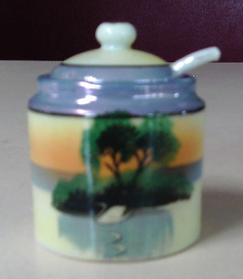 VINTAGE MINIATURE SUGAR BOWL WITH SPOON LUSTREWARE SUGAR BOWL TA SWAN MADE JAPAN