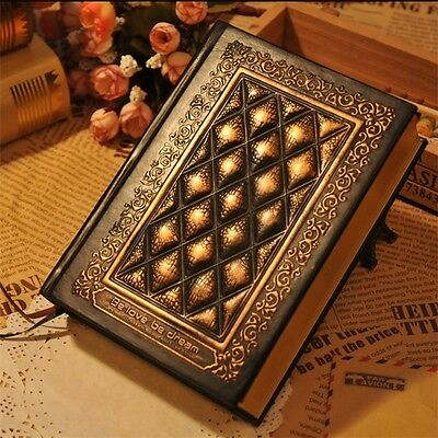 Retro Vintage Classic Black Golden Plaid Leather Framed Notebook Diary Journal