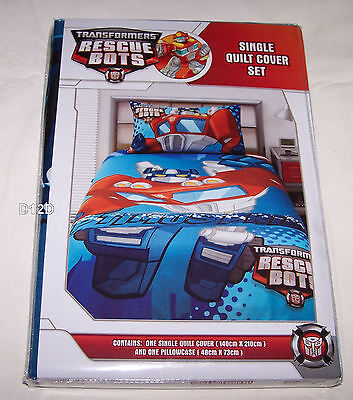 Transformers Rescue Bots Optimus Prime Blue Single Bed Quilt Cover Set New