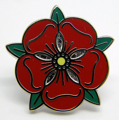 Lancashire Red Tudor Rose Lapel Pin Badge In Free Gift Pouch
