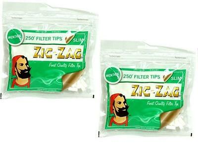 250 X One Resealable Bag Slim Filter Tips Zig Zag Menthol
