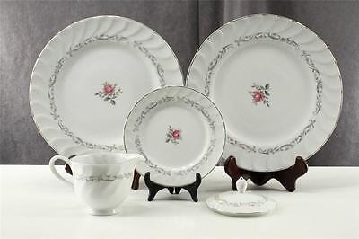 Vintage 5PC Lot Fine China of Japan ROYAL SWIRL Gray Pink Rose Plates & Creamer