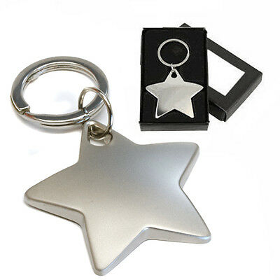Personalised Matte Finish Chrome Star Keyring Gift, Engraved With Any Message