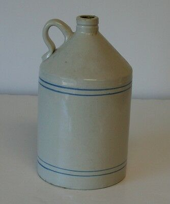 Antique Stoneware Pottery Whiskey Liquid Jug Crock Blue Band Stripe Earthenware
