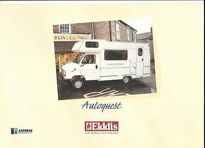 ELDDIS AUTOQUEST  MOTORHOME MOTOR CARAVAN SALES BROCHURE EARLY 90's PLUS PRICES