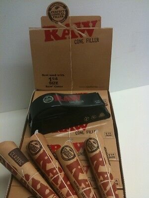 RAW rolling papers loader/shooter/FILLER and (24) Prerolled 1 1/4 size CONES
