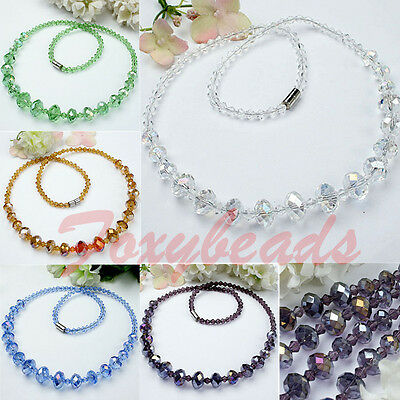 "1 Strand Fashion Crystal Glass Faceted Beads Necklace Colors 18.5""L Xmas Gift"