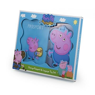Peppa Pig Blue George Childrens Passport Cover Holder And Luggage Tag Travel Set