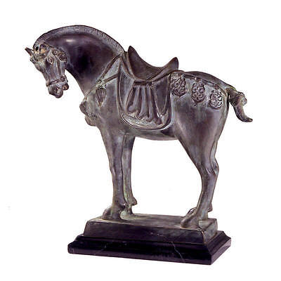 """Design Toscano 11"""" Tang Dynasty Horse Quality Bronze Statue Black Marble Base"""