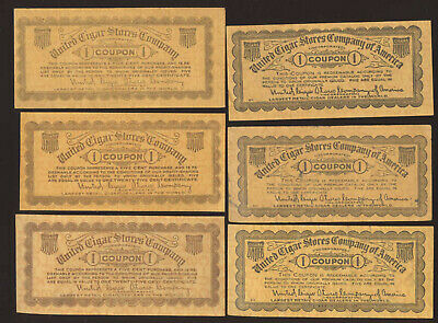 6 OLD UNITED CIGAR STORES COMPANY * # 1 CERTIFICATE COUPONS * FREE SHIP * TC16