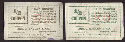 THE JNO J. BAGLEY & CO TOBACCO * 2 (1/2) VALUABLE COUPONS  * FREE SHIP * TC9