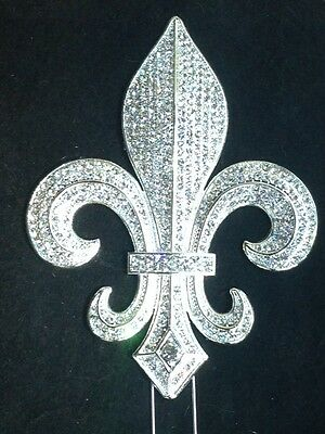 Large Rhinestone Silver Fleur De Lis Mardi Gras Saints Cake Topper Decoration