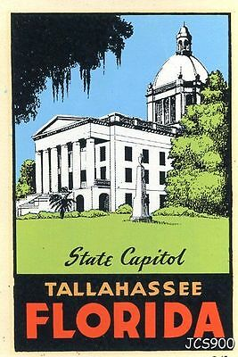 Vintage Tallahassee Florida State Capitol Souvenir Travel Decal Water Windshield