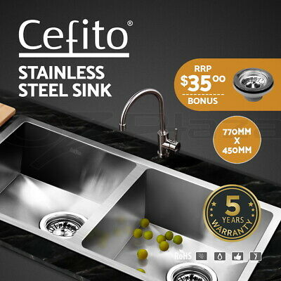 Cefito Kitchen Sink 304 Stainless Steel Double Under/Topmount Laundry 770x450mm