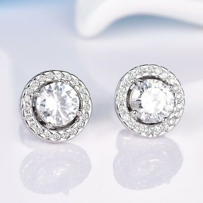 18k White Gold Filled Swarovski Crystal Fashion Dazzling Flower Stud Earrings