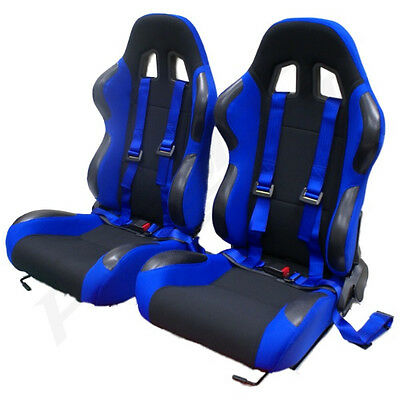 Blue Reclining Bucket Car Seats With Racing Harnesses