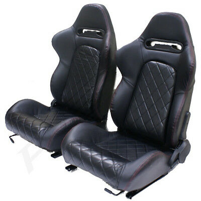 Black Pvc Leather Eff Reclining Bucket Car Seats For Vw Polo